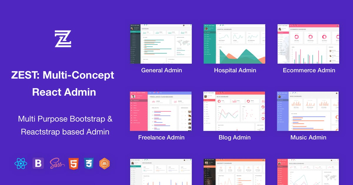 Download Zest: Multi-Concept React Admin Template by themepassion