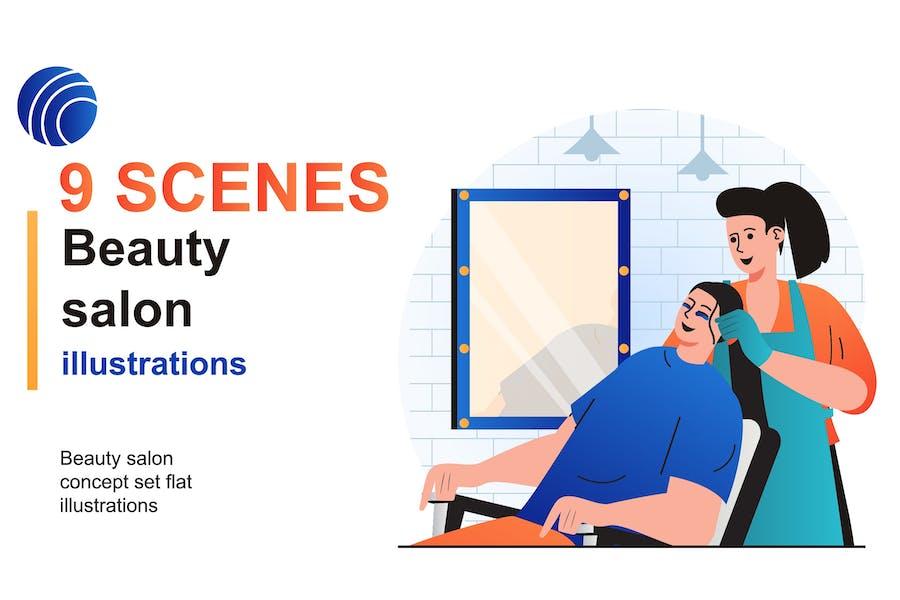 Beauty Salon Web Scenes Set
