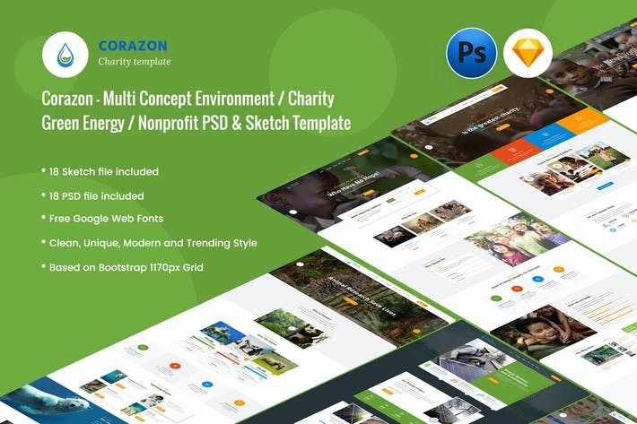 Cover Image For Corazon - Creative Charity / Nonprofit Template