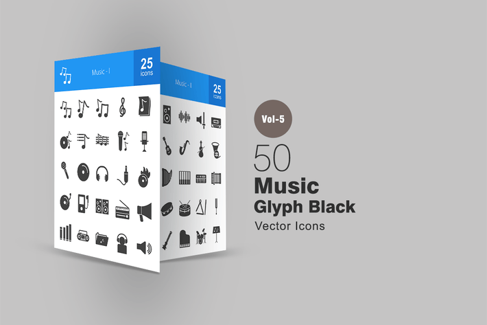 Thumbnail for 50 Music Glyph Icons