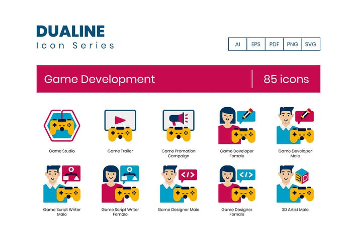85 Icons für die Spieleentwicklung - Dualine Flat Serie