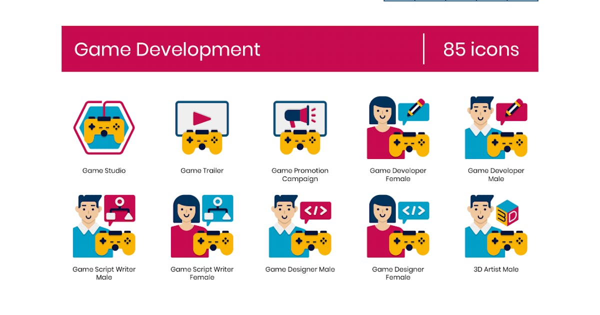 Download 85 Game Development Icons - Dualine Flat Series by Krafted