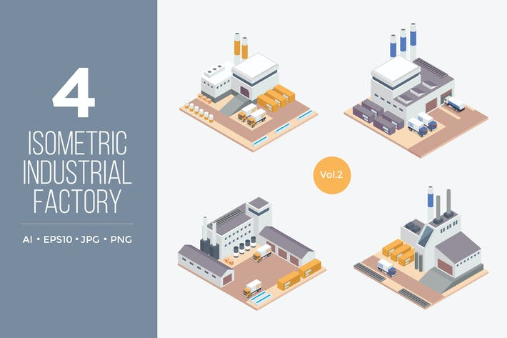Thumbnail for Isometric Industrial Factory Vector Set 2