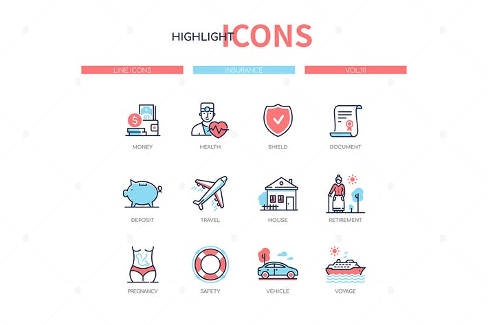 Thumbnail for Insurance concept - line design style icons set
