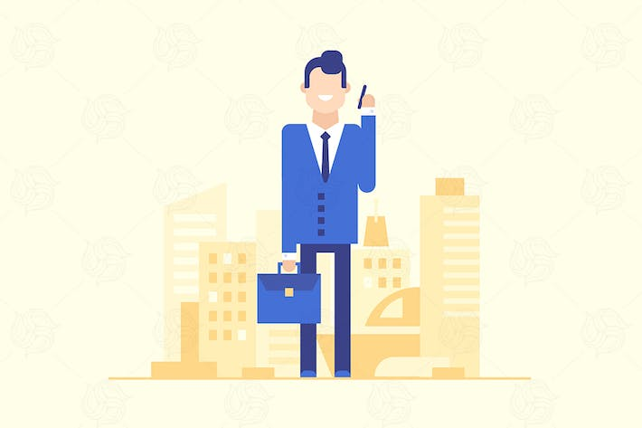 Thumbnail for Businessman with the phone - flat illustration