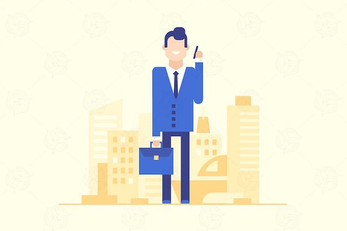 Geschäftsmann mit dem Telefon - flache Illustration