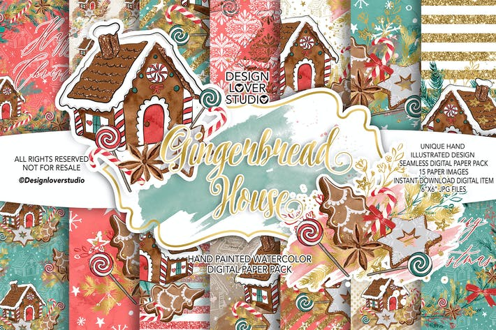 Thumbnail for Gingerbread house digital paper pack