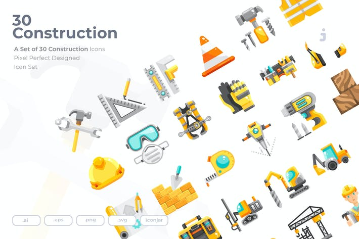 Thumbnail for 30  Construction Icons - Flat