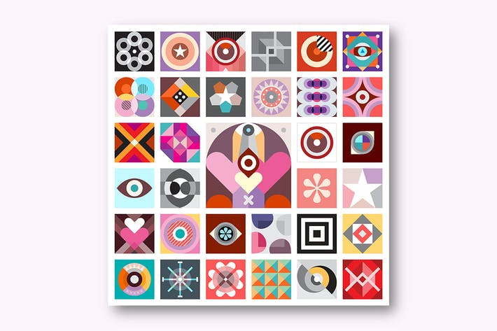 Cover Image For Abstract Art Composition, set of abstract patterns