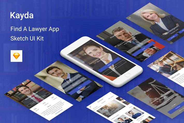 Thumbnail for Kayda - Find A Lawyer UI Kit for Sketch