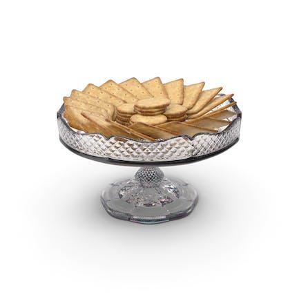 Cuenco pequeño de cristal con galletas