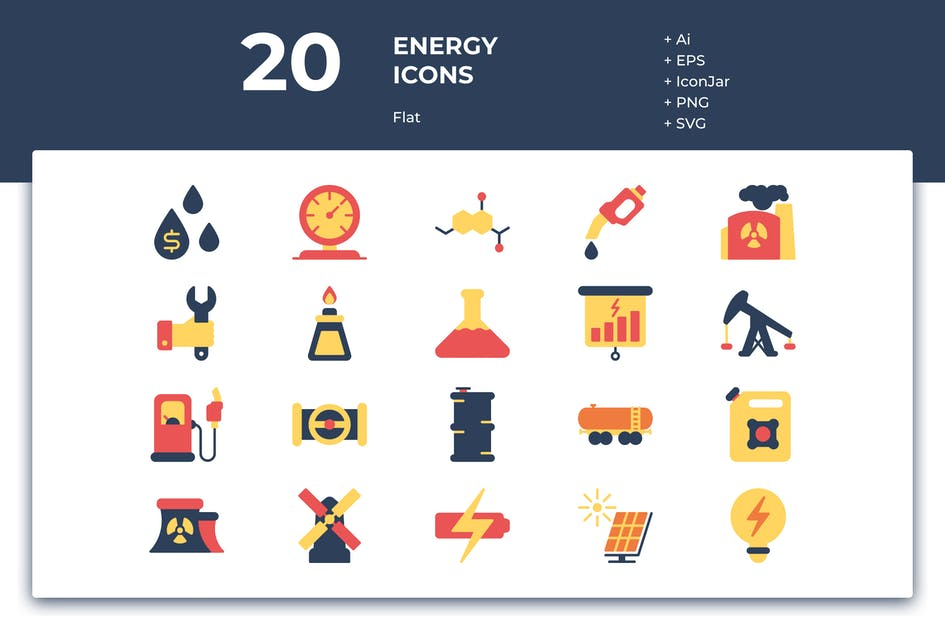 Download 20 Energy Icons (Flat) by inipagi