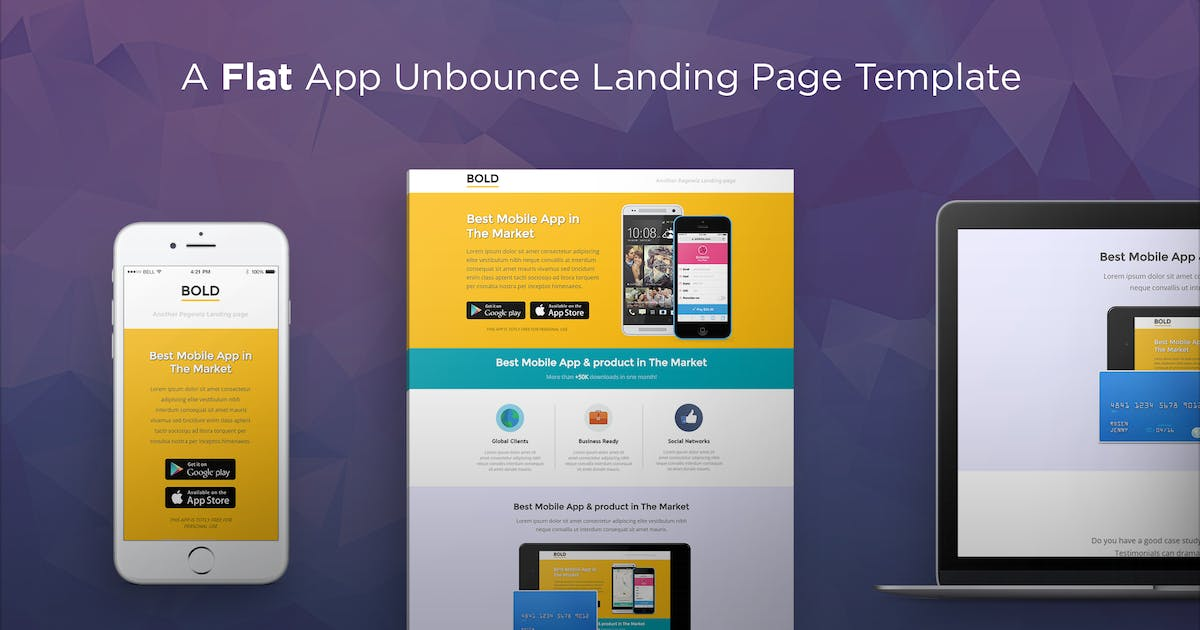 Download BOLD - App Unbounce Landing Page Template by PixFort