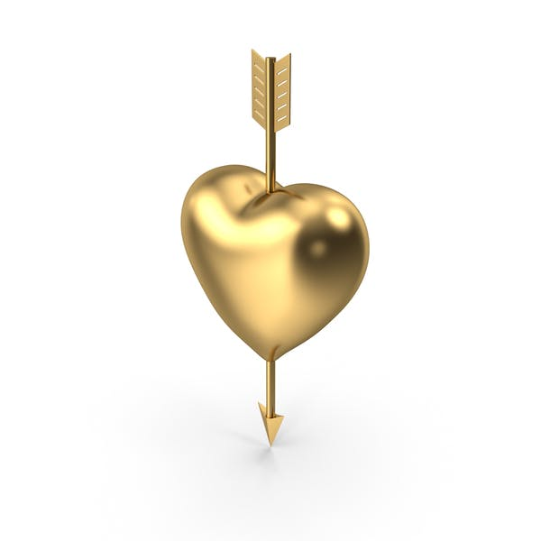Thumbnail for Heart with Arrow Gold