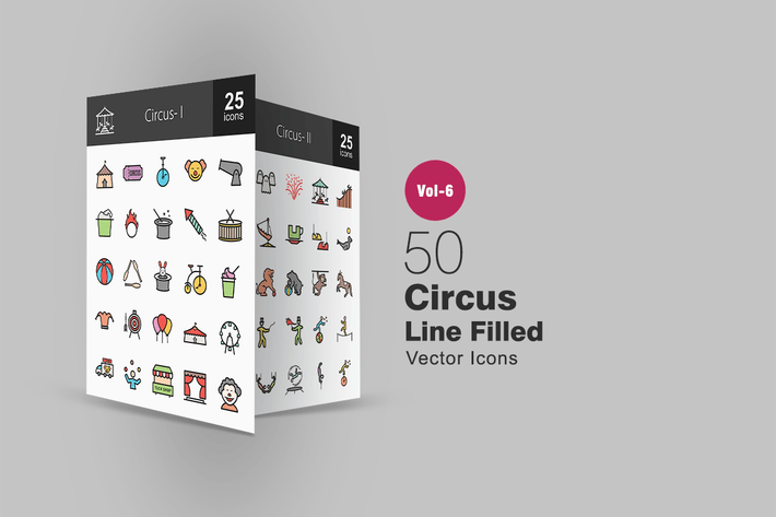 Thumbnail for 50 Circus Filled Line Icons