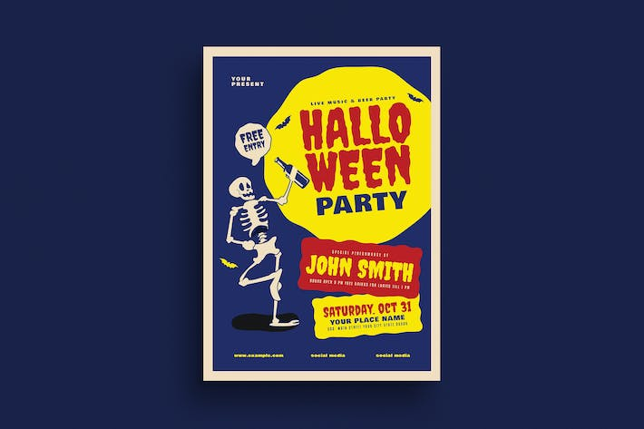 Thumbnail for Old Retro Halloween Party Flyer