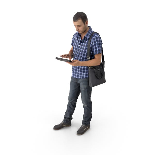 Casual Man with Tablet