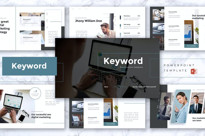Thumbnail for KEYWORD- SEO Digital Marketing Powerpoint Template