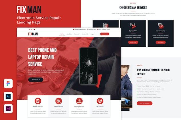 Fixman - Electronic Repair Service Landing Page