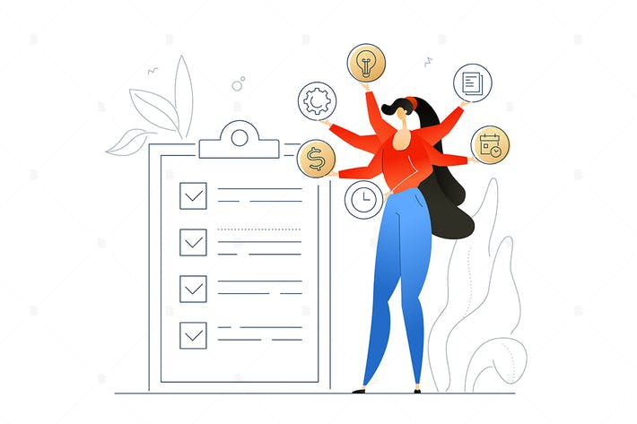 Thumbnail for Task management - flat design style illustration