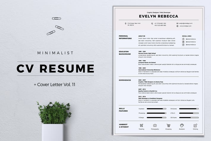 Thumbnail for Minimalist CV Resume Vol. 11