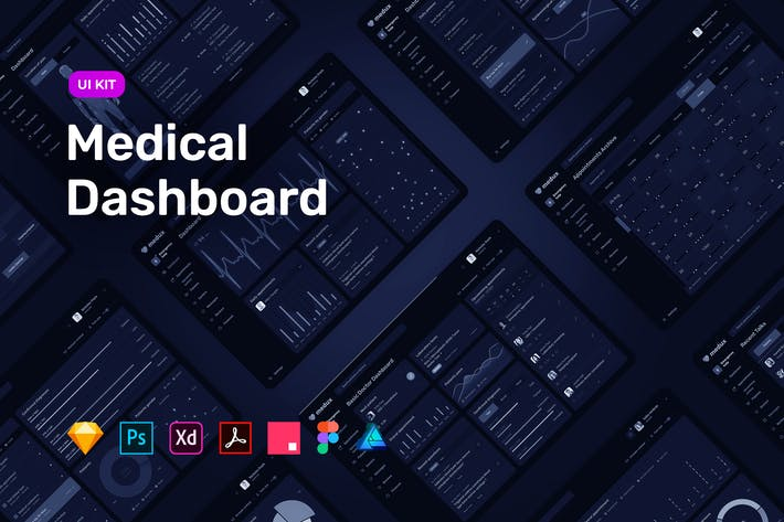 Thumbnail for Dark Medical Dashboard – UI KIT