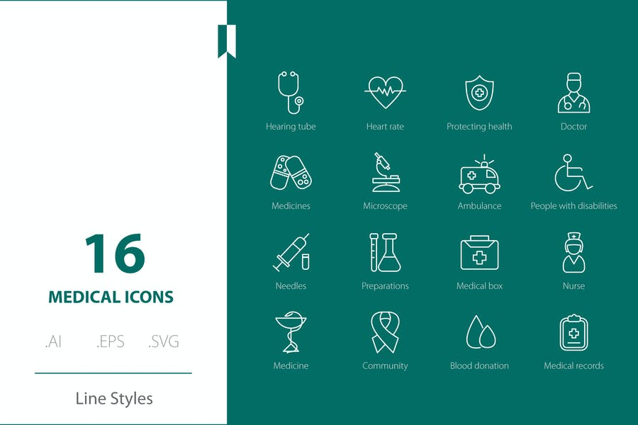 Medical Icon Line Styles