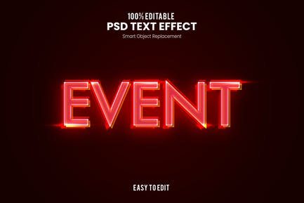 Events - Neon PSD Text Effect