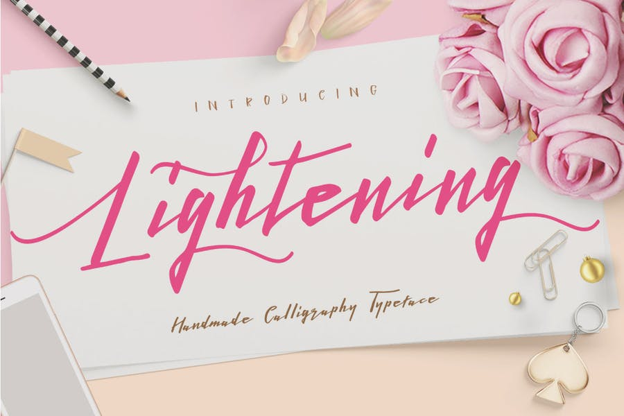 Lightening Script signature font logotype