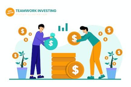 Teamwork Investing Flat Vector Illustration