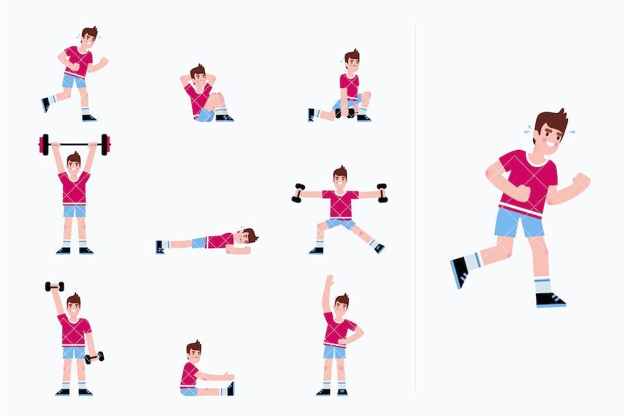 Hombre haciendo una serie de ejercicios. Rutina de entrenamiento.