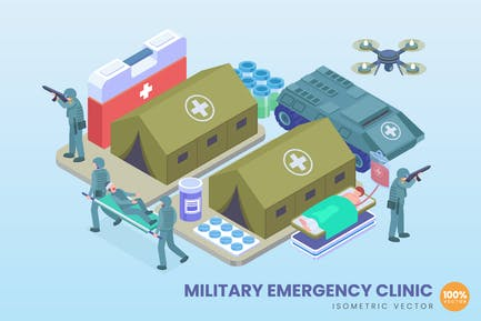 Isometric Military Emergency Clinic Concept