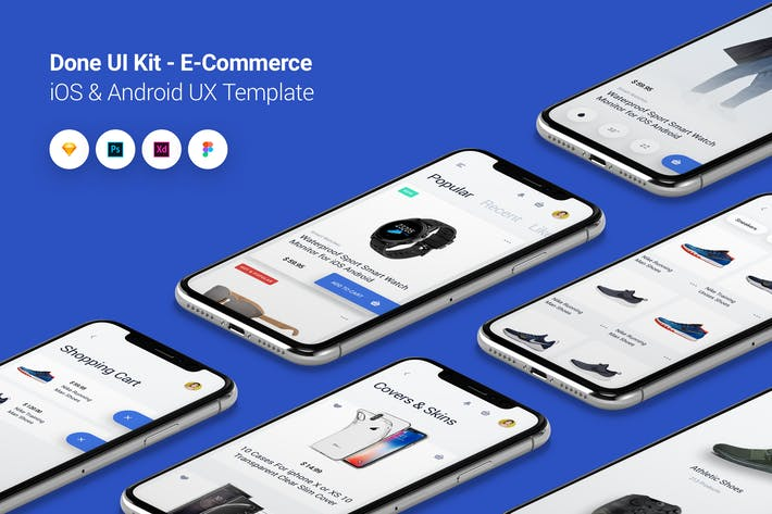 Cover Image For E-Commerce - Done UI Kit iOS & Android UX Template