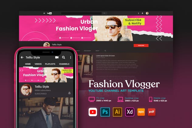 Youtube Cover Art Vol.15 Fashion Vlogger Channel