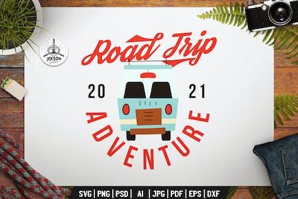Road Trip Adventure Label. Camping Badge Design
