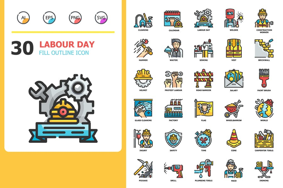 labour day Fill Outline Icons