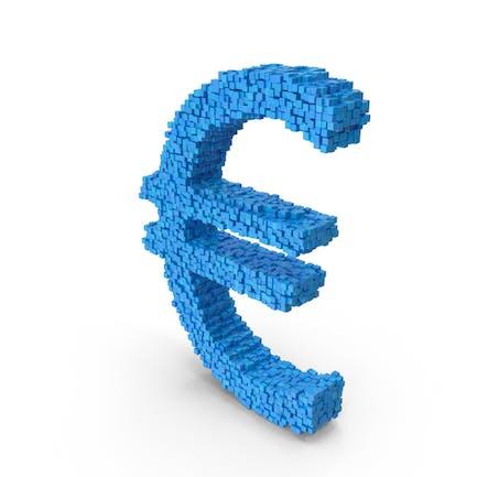 Voxel Euro Símbolo Azul