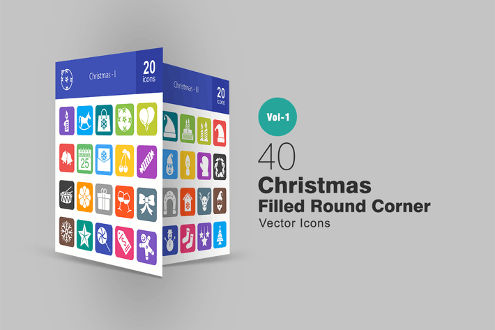 Thumbnail for 40 Christmas Filled Round Corner Icons