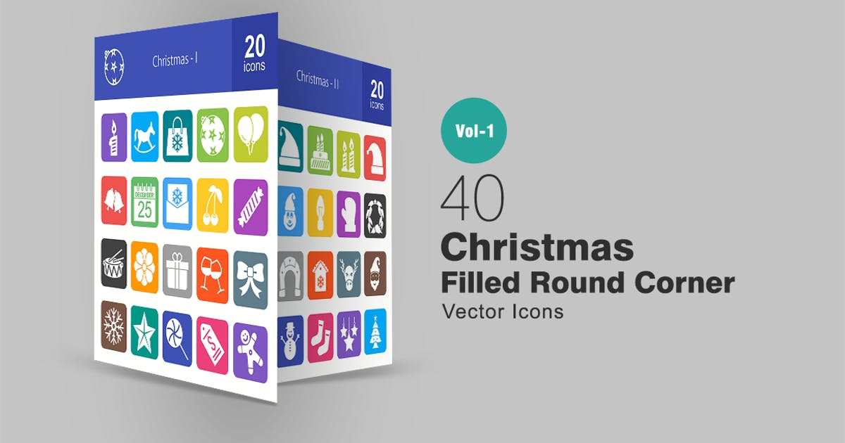 Download 40 Christmas Filled Round Corner Icons by IconBunny