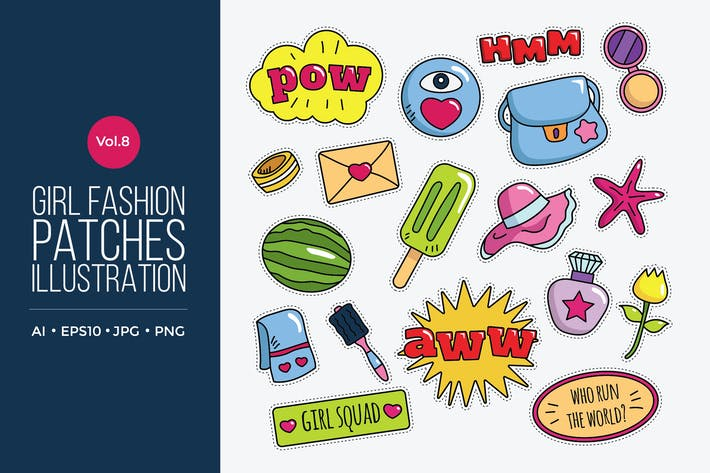 Cover Image For Girl Power Fashion Vector Patches Vol.8