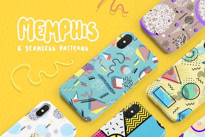 Thumbnail for Memphis Seamless Patterns Collection
