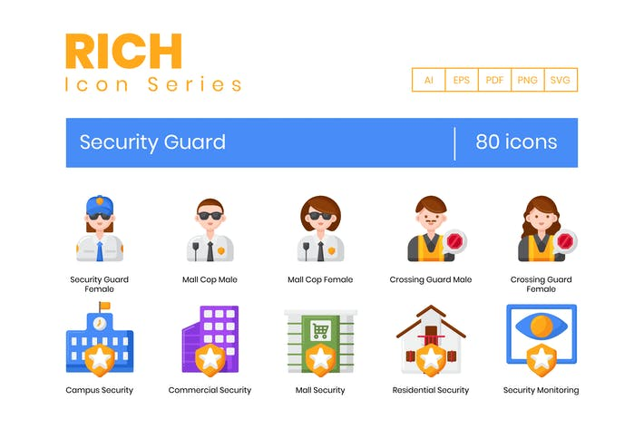 Thumbnail for 80 Security Guard Icons - Rich Series