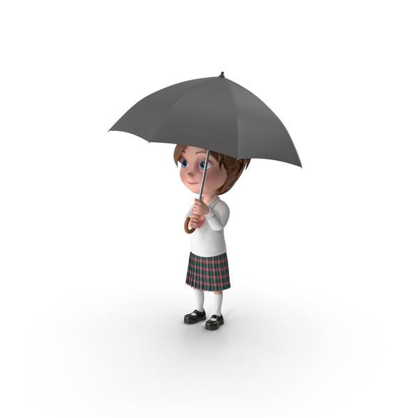 Thumbnail for Cartoon Girl Meghan Holding Umbrella