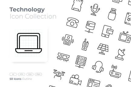 Icono de esquema de tecnología