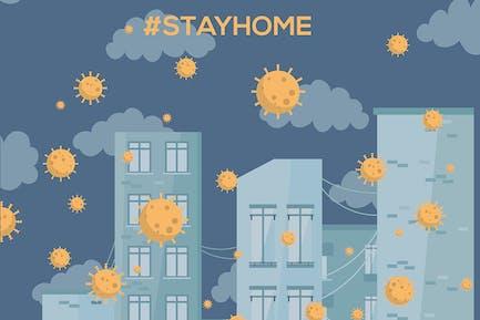 Stay at home. Coronavirus vector