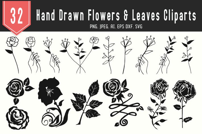 Thumbnail for 30+ Handmade Flowers & Leaves Floral Clipart
