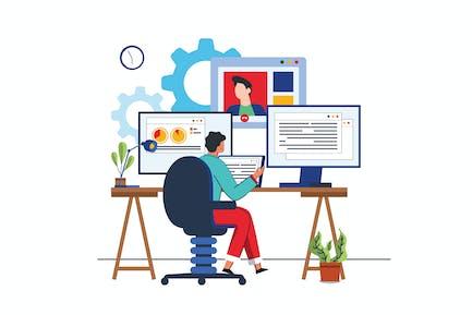 Ilustración de actividad de trabajo