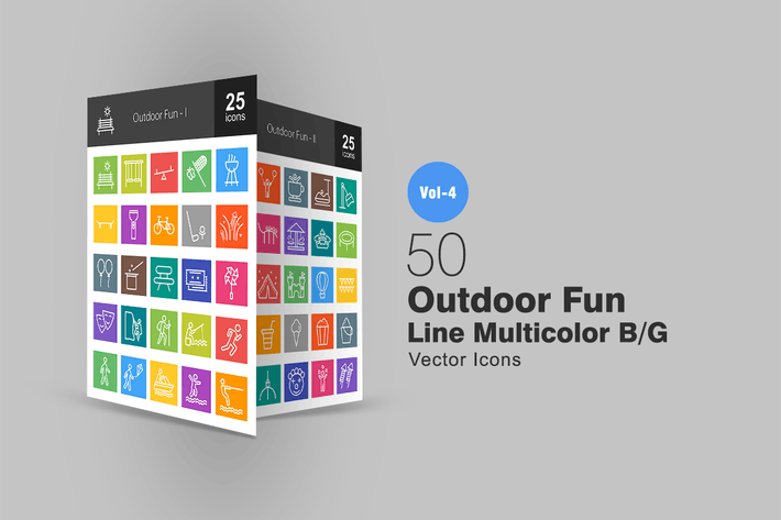 Cover Image For 50 Outdoor Fun Line Multicolor Icons