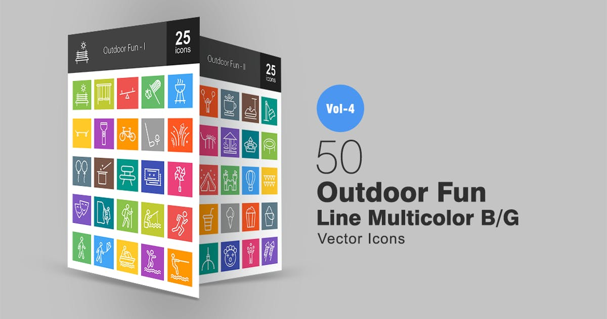 Download 50 Outdoor Fun Line Multicolor Icons by IconBunny