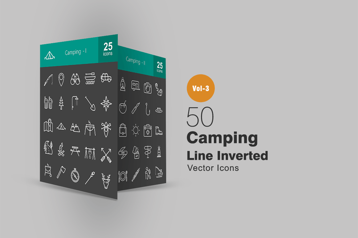 Thumbnail for 50 Camping Line Inverted Icons